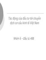 Phân tích định lượng tác động của đầu tư với chuyển dịch cơ cấu kinh tế Việt Nam-slide+word phần 1