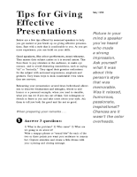 Tips for Giving Effective Presentations
