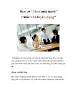 Bạn có đánh mất mình trước nhà tuyển dụng?