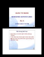 Quản trị mạng window server 2003 Chính sách nhóm