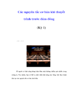 Các nguyên tắc cơ bản khi thuyết trình trước đám đông (Kỳ 1)