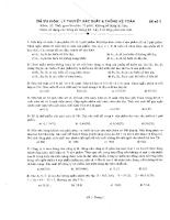 Đề thi môn : Lý thuyết  Xác suất & Thống kê toán 2