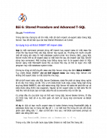 Stored Procedure and Advanced T-SQL