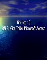 Giáo án Giới Thiệu Microsoft Access