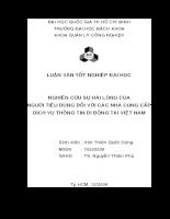 NGHIÊN CỨU SỰ HÀI LÒNG CỦA NGƯỜI TIÊU DÙNG ĐỐI VỚI CÁC NHÀ CUNG CẤP DỊCH VỤ THÔNG TIN DI ĐỘNG TẠI VIỆT NAM.doc