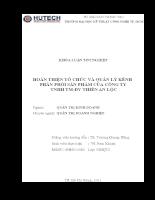 HOÀN THIỆN TỔ CHỨC VÀ QUẢN LÝ KÊNH PHÂN PHỐI SẢN PHẨM CỦA CÔNG TY  TNHH TM-DV THIÊN AN LỘC.doc