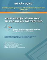 Chương trình Quy hoạch Môi trường Đô thị Việt Nam Kinh nghiệm