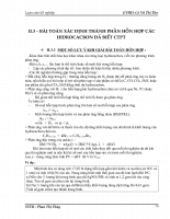 BÀI TOÁN XÁC ĐỊNH THÀNH PHẦN HỖN HỢP CÁC HIDROCACBON ĐÃ BIẾT CTPT