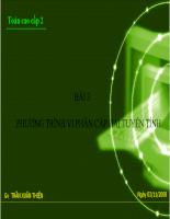 Bài giảng phương trình vi phân cấp hai tuyến tính