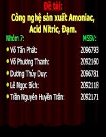 Công nghệ sản xuất Amoniac, Acid Nitric, Đạm