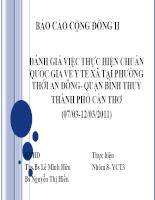 đánh giá việc thực hiện chuẩn quốc gia về y tế xã tại phường thới an đông- quận bình thuỷ thành phố cần thơ (07/03-12/03/2011)