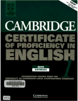 Cambridge University Press Cambridge Certificate Of Profeciency English - 1