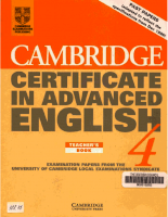 Cambridge University Press Cambridge Certificate In Advanced English Teachers Book - 4