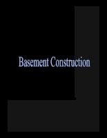 những vấn đề cơ bản về xây dựng tầng ngầm (Basement Construction)