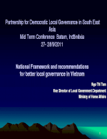 National Framework and recommendations for better local governance in Vietnam