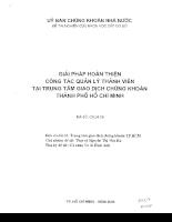 Giải pháp hoàn thiện công tác quản lý thành viên tại trung tâm giao dịch chứng khoán thành phố Hồ Chí Minh
