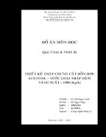 THIẾT KẾ THÁP CHƯNG CẤT HỖN HỢP ACETONE – NƯỚC LOẠI THÁP ĐỆMNĂNG SUẤT : 1500 (Kg/h)