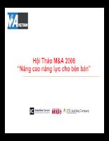Hội Thảo M&A 2008 Nâng cao năng lực cho bên bán