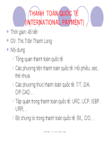 Bài giảng thanh toán quốc tế - TS trần thanh long