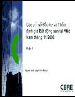 Các chỉ số Đầu tư và Thẩm định giá Bất động sản tại Việt
