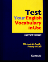 Longman Press Test Your Test Your English Vocabulary In Use - Upper-Intermediate