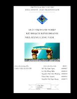 Bài bao cáo quản trị doanh nghiệp kế hoạch kinh doanh nhà hàng làng nấm