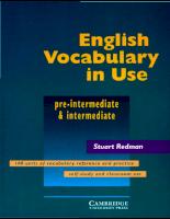 English Vocabulary In Use Pre - Intermediate