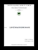 Lập kế hoạch kinh doanh cho Công ty TNHH SX-CB NÔNG GIA