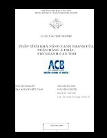 Phân tích khả năng cạnh tranh của ngân hàng Á Châu – Chi nhánh Cần Thơ