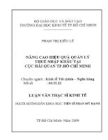 Nâng cao hiệu quả quản lý thuế nhập khẩu tại cục hải quan TP Hồ chí Minh