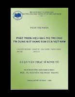 Phát triển hiệu quả thị trường tín dụng bất động sản của Việt Nam