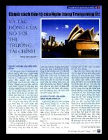 Chính sách tiền tệ của Ngân hàng Trung ương Úc và tác động của nó tới thị trường tài chính