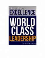 The Path To Excellence World Class Leadership