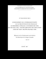 Enseignement de l'expression écrite - le cas des étudiants de français en première année de l'université de vinh