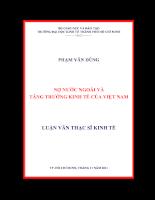 Nợ nước ngoài và tăng trưởng kinh tế của Việt Nam