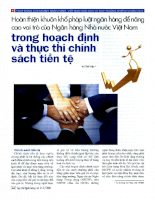 Hoàn thiện khuôn khổ pháp luật ngân hàng để nâng cao vai trò của Ngân hàng Nhà nước Việt Nam trong hoạch định và thực thi chính sách tiền tệ
