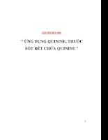 Chuyên đề y học  Ứng dụng quinine, Thuốc sốt rét chứa quinine