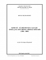 Kinh tế - xã hội huyện cao lộc, tỉnh lạng sơn trong thời kỳ đổi mới (1986 - 2009)