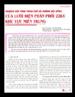 Nghiên cứu tính toán chế độ không đối xứng của lưới điện phân phối 22KV khu vực Miền Trung.
