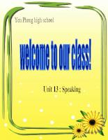Giáo án Tiếng anh 12: Unit13-Speaking 12CB