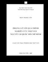 Phong Lê với quá trình nghiên cứu thơ văn Nguyễn Ái Quốc Hồ Chí Minh