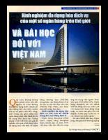 Kinh nghiệm đa dạng hóa dịch vụ của một một số ngân hàng trên thế giới và bài học đối với Việt Nam