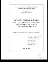 Nghiên cứu giải pháp đầu tư và khai thác tiềm năng văn hóa du lịch tỉnh Bà Rịa - Vũng Tàu