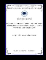 Vận dụng phương pháp thẻ cân bằng điểm (Balance Scorecard) tại công ty TNHH MSC Việt Nam