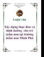 Luận văn Xây dựng thực đơn và dinh dưỡng cho trẻ mầm non tại trường mầm non Minh Phú