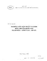 Nghiên cứu sản xuất vacxin mẫu chuẩn quốc gia