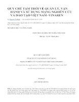 Quy chế tạm thời về quản lí, vận hành và sử dụng mạng nghiên cứu và đào tạo Việt nam