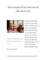 Tài liệu 10 lời khuyên để lựa chọn sữa tốt nhất cho bé yêu pdf