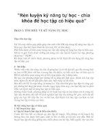 Tài liệu Rèn luyện kỹ năng tự học  chìa khóa để học tập có hiệu quả pdf
