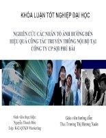 Slide NGHIÊN cứu các NHÂN tố ẢNH HƯỞNG đến HIỆU QUẢ CÔNG tác TRUYỀN THÔNG nội bộ tại CÔNG TY CP sợi PHÚ bài